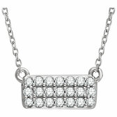 "14kt White 1/6 CTW Diamond Rectangle Cluster 18"" Necklace"