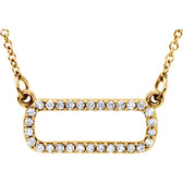 "14kt Yellow 1/6 CTW Diamond Soft Rectangle 16"" Necklace"