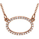 "14kt Rose 1/6 CTW Diamond Horizontal Oval 16"" Necklace"