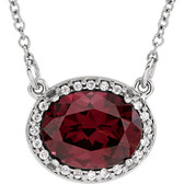 "14kt White Rhodolite Garnet & .05 CTW Diamond 16"" Necklace"