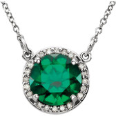 "14kt White Chatham® Created Emerald & .05 CTW Diamond 16"" Necklace"