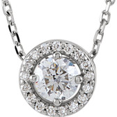 "14kt White 1/4 CTW Diamond Halo-Style 16"" Necklace"