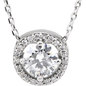 "14kt White 1/2 CTW Diamond Halo-Style 16"" Necklace"