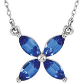"14kt White Chatham® Created Blue Sapphire 16"" Necklace"