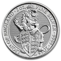 2016 2 Oz Silver Great Britain Queen's Beasts - The Lion Reverse