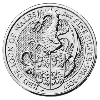 2017 2 Oz Silver Great Britain Queen's Beasts - The Dragon Reverse