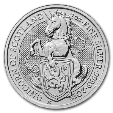 2018 2 Oz Silver Great Britain Queen's Beasts - The Unicorn Reverse