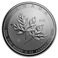 2019 10 Oz Silver Canadian Maple Leaf Reverse