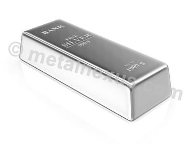 Silver 1 Kilo Bullion Bar - Generic image