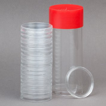 Tube for encapsulated 1 OZ coins which can hold 18 coins in separate plastic containers.  Generic image - Capsules not included.