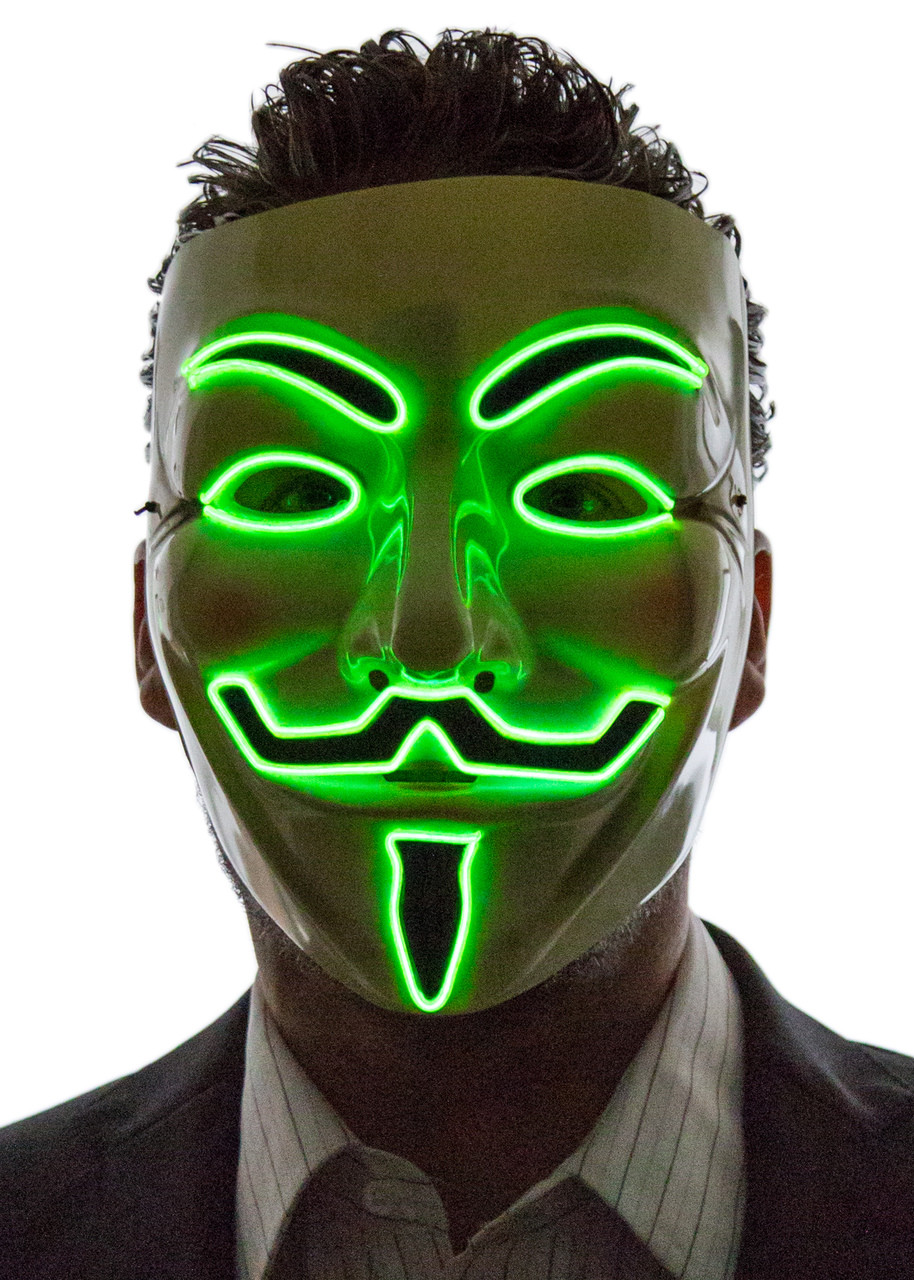 light up v for vendetta / guy fawkes mask - neon nightlife