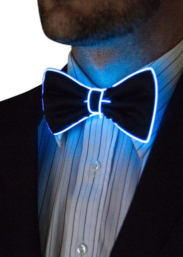 Blue EL Wire Light Up Bow Tie