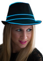 Blue EL Wire Light Up Fedora Hat