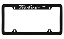 Chevrolet Tahoe Script Top Engraved Black Coated Zinc License Plate Frame With Silver Imprint