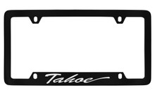Chevrolet Tahoe Script Bottom Engraved Black Coated Zinc License Plate Frame With Silver Imprint