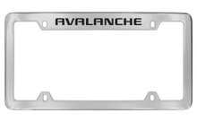 Chevrolet Avalanche Top Engraved Chrome Plated Brass License Plate Frame With Black Imprint