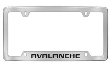 Chevrolet Avalanche Bottom Engraved Chrome Plated Brass License Plate Frame With Black Imprint