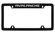 Chevrolet Avalanche Top Engraved Black Coated Zinc License Plate Frame With Silver Imprint