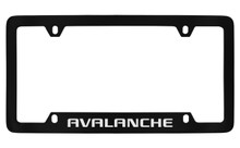 Chevrolet Avalanche Bottom Engraved Black Coated Zinc License Plate Frame With Silver Imprint
