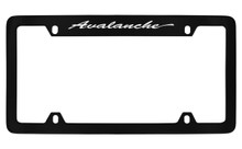 Chevrolet Avalanche Script Top Engraved Black Coated Zinc License Plate Frame With Silver Imprint