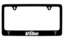 Pontiac Vibe Black Coated Zinc License Plate Frame With Silver Imprint