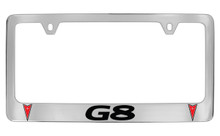 Pontiac G8 With 2 Logos Chrome Plated Brass License Plate Frame With Black And Red Imprint
