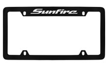 Pontiac Sunfire Top Engraved Black Coated Zinc License Plate Frame With Silver Imprint