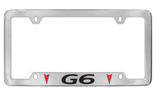 Pontiac G6 With 2 Red Logos Bottom Engraving Chrome Plated Brass License Plate Frame With Black Imprint