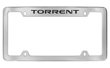 Pontiac Torrent Top Engraved Chrome Plated Brass License Plate Frame With Black Imprint