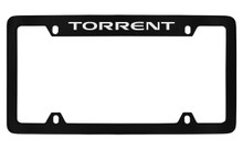 Pontiac Torrent Top Engraved Black Coated Zinc License Plate Frame With Silver Imprint