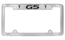 Pontiac G5 With 2 Red Logos Top Engraved Chrome Plated Brass License Plate Frame With Black Imprint