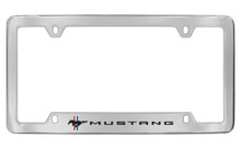 Ford Mustang With 1 Racing Pony With 3 Color Stripe Bottom Engraved Chrome Plated Solid Brass License Plate Frame Holder With Black Imprint With Color Stripes