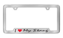 Ford I Love My Stang Bottom Engraved Chrome Plated Solid Brass License Plate Frame Holder With Black Imprint Script