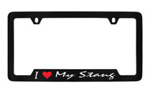 Ford I Love My Stang Script Bottom Engraved Black Coated Zinc Frame 2H With Silver Imprint Red Heart