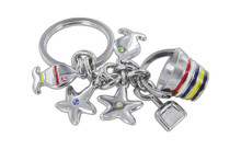 Chrome Plated Beach Theme Red Blue Yellow Black And White Color With Light Blue Yellow Pink Green Stellux Crystals Keychain