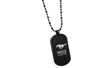 Mustang 50th Anniversary-Male 3D Raised Mustang 50 Years Logo Chrome On Black Dog Tag Necklace With 20' Chain