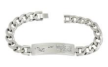 Mustang 50th Anniversary-Unisex 3D Raised Mustang 50 Years Logo Chrome On Chrome Bracelet