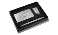 MUSTANG CHROME CURVE LINE MONEY CLIP, BUSINESS CARD CASE, AND BALL PEN GIFT SET IN DELUXE BOX (FOGBMPCC-E)