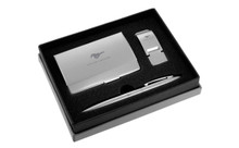 Mustang Satin Money Clip, Card Case, And Ball Pen Gift Set In Deluxe Box