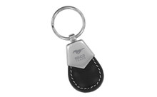 Mustang 50th Anniversary-50 Years With Pony-Black Tear Shape Leather Key Chain With Brush Satin Top