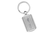 Mustang 50th Anniversary-50 Years With Pony-Rounded Edge Rectangular Chrome Stainless Insert Swivel Key Chain