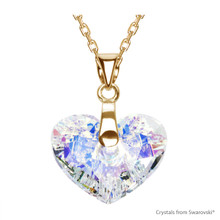 Crystal Aurore Boreale Truly In Love Heart Necklace Embellished With Swarovski Crystals (NE2G-001AB)