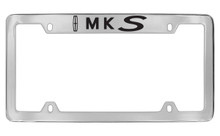 Lincoln MKS With Logo Top Engraved Solid Brass License Plate Frame Holder With Black Imprint