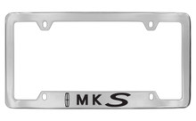 Lincoln MKS With Logo Bottom Engraved Solid Brass License Plate Frame Holder With Black Imprint