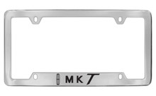 Lincoln MKT With Logo Logo Bottom Engraved Solid Brass License Plate Frame Holder With Black Imprint