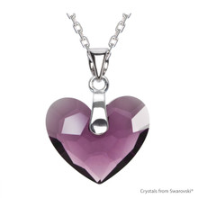Amethyst Truly In Love Heart Necklace Embellished With Swarovski Crystals (NE2R-204)