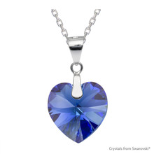 Sapphire Ab Xilion Heart Necklace Embellished With Swarovski Crystals (NE3R-206AB)