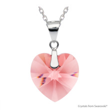 Rose Peach Xilion Heart Necklace Embellished With Swarovski Crystals (NE3R-262)