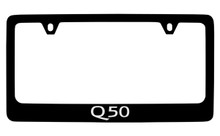 Infiniti Q50 Black Coated Zinc License Plate Frame Holder With Silver Imprint