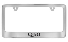 Infiniti Q50 Chrome Plated Solid Brass License Plate Frame Holder With Black Imprint